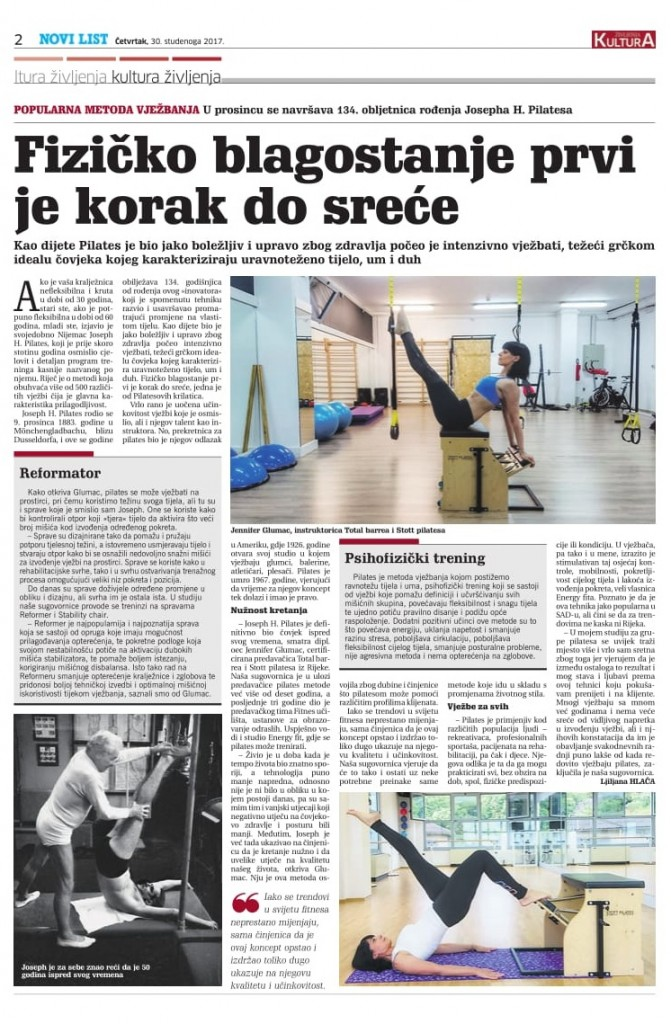 Novi list Pilates sprave