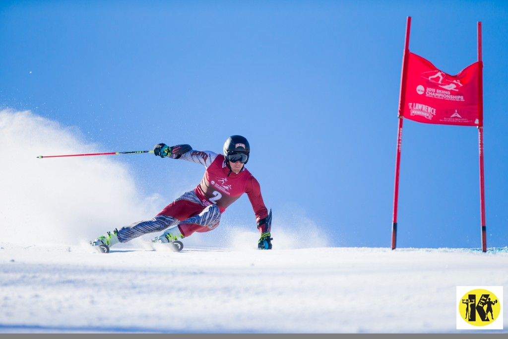 Sebastian Brigovic of the University of Denver, skis during the second run of the Men's Giant Slalom at the NCAA Division I Skiing Championships on March 12, 2015 in Wilmington, NY. (Dustin Satloff/Colby College Athletics)